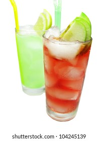 two glasses of alcohol cocktail drinks with ice and lemon