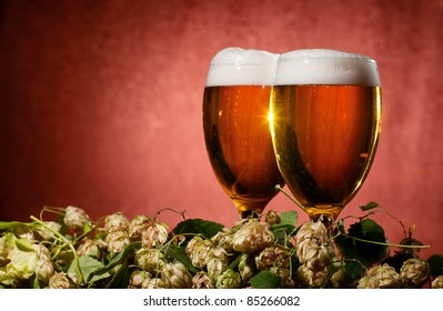 Two glasses of beer with hop on red background