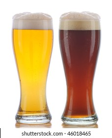 Two Glasses of Beer a Pilsner and a Dark Ale with Reflection isolated on white