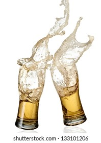 Two glasses with beer splash