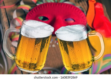 Two glasses of beer. Toast with beer.