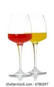 Two glasses with beverages, reflected on white background