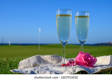 Two glasses with bubbles white champagne or cava wine served with pink flowers on green golf club grass with sea view for romantic event or celebration