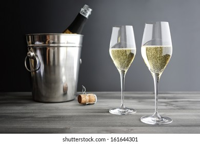 Two glasses of Champagne and Cooler