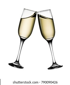 Two glasses of champagne isolated on white background with clipping path