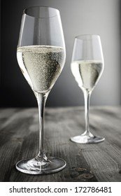 Two glasses of Champagne, selective focus