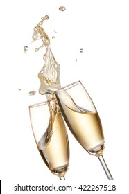 two glasses of champagne toasting creating splash