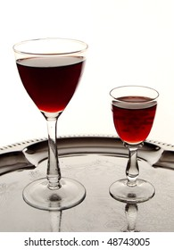 two glasses of cordial on silver tray