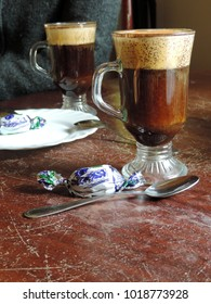 Two glasses of kogel-mogel coffee - coffee mixed with beaten egg yolk with sugar