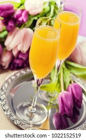Two glasses of mimosa cocktail (champagne with orange juice) and tulips