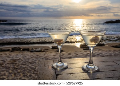 Two glasses on a table at sunset view cafe, Sunset Point, Nusa Lembongan, Indonesia