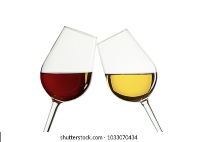 Two glasses with red and white wine on white isilated background
