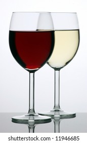 Two glasses of red and white wine