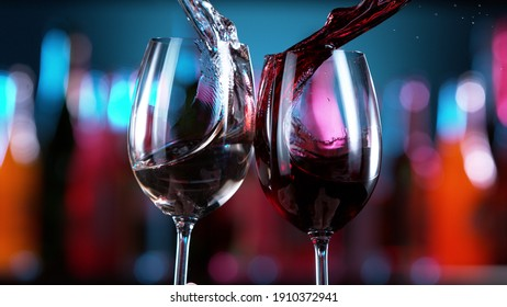 Two glasses of red and white wine hitting each other, blur bottles with bar counter on background