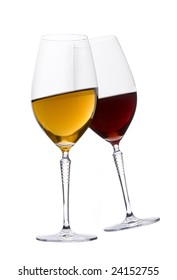 Two glasses of red and white wine on white background