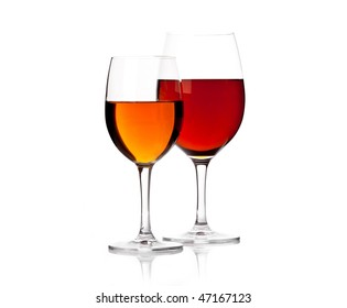 Two glasses of red wine against white background