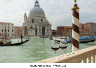 Two Glasses of Red Wine Besides the Grand Canal in Venice-Italy