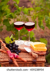 Two glasses of red wine with bread, meat, grape and cheese on the vineyard background