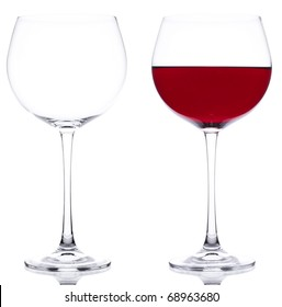 Two Glasses red wine and empty over white background