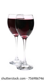 Two glasses of red wine, isolated on white background