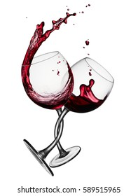 two glasses of red wine tangled around each other