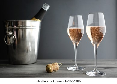 Two Glasses of Rose, Pink Champagne, selective focus