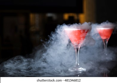 Two glasses with smoke from liquid nitrogen