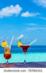 Two glasses of the soft drink. (Maldives, The Indian Ocean)