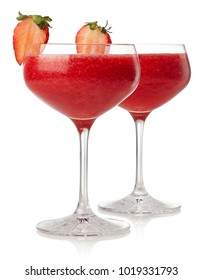 Two glasses of strawberry daiquiri cocktail isolated on white background