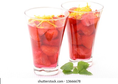 two glasses of strawberry jelly - delicious dessert
