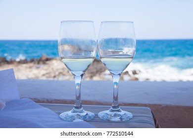 Two glasses of white wine on Crete, Greece