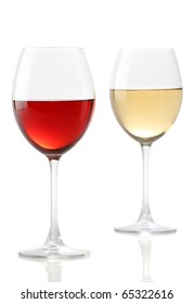 Two glasses of wine, one with red and the other with white
