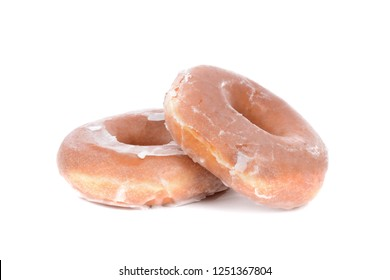 two glazed donuts isolated on white background food concept