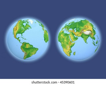 Two  globes on a blue background