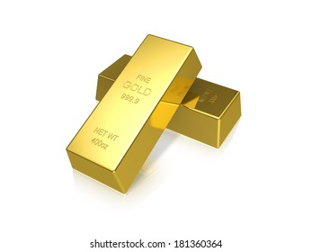 Two gold bars on a white background.