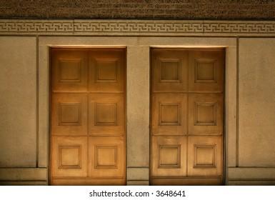 two gold doors