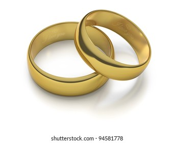 Two gold engraved wedding rings with I LOVE YOU