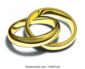 Two gold rings isolated on a white background