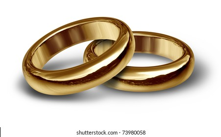 Two gold wedding rings resting on an isolated background representing the start of a new life and relationship.