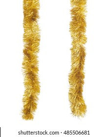 Two golden Christmas tinsels hanging in vertical position. Isolated on white background