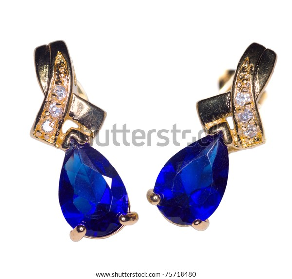 Two Golden Sapphire Earrings Small Diamonds Stock Photo (Edit Now