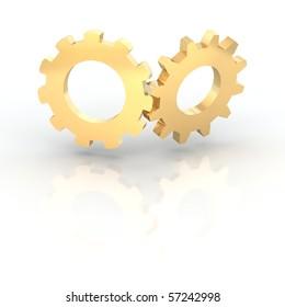 Two golden shiny cogwheels. 3d rendered illustration.