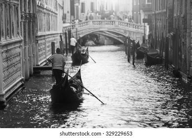 Two gondolas in Venice, Italy
