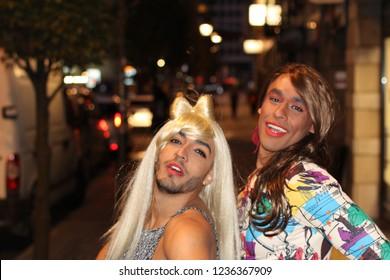 Two gorgeous transgender women at night