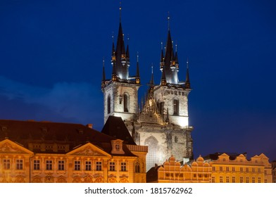 Two gothic towers of Church Of Our Lady Before Tyn illuminated by city lights in a summer night without tourists. View from the Old Town Square of Stare Mesto in Prague, Czech Republic. Blue clear sky - Shutterstock ID 1815762962