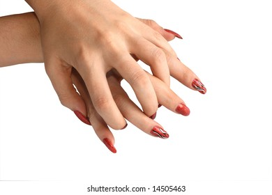 Two graceful female hands with beautiful manicure