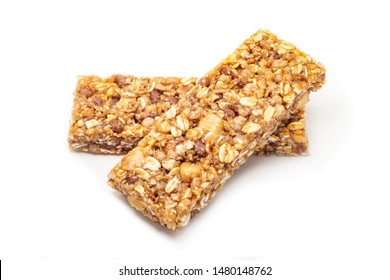 two granola bars with shadow on white background.