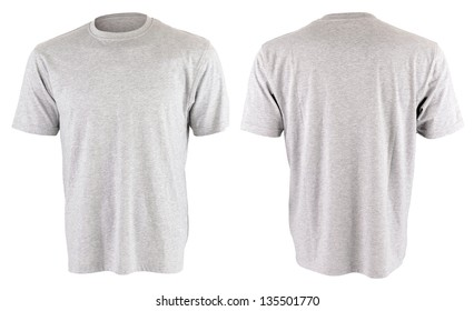 Two gray T-shirt isolated on white background