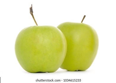Two Green Apples Isolated on White