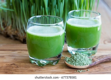 Two green barley grass shots on a wooden background, with fresh young barley in the background